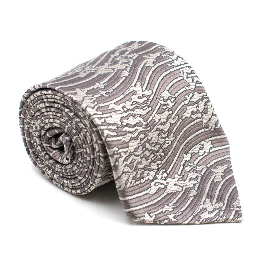Giorgio Armani Grey Metallic Abstract Pattern Silk Tie