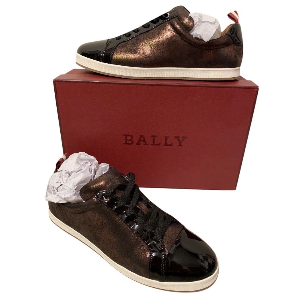 Bally Janette Gold Metallic Calf Leather Trainers