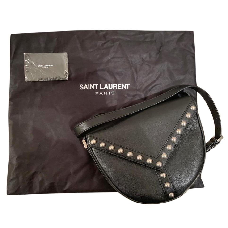 df9626fac962 Yves Saint Laurent Black Leather Y Studded Besace Bag