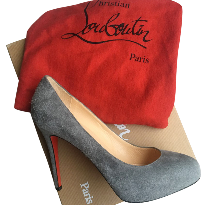 release date: 9cfc4 5f651 Christian Louboutin Grey Suede Pumps