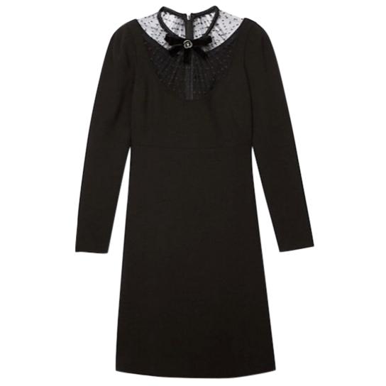 The Kooples Lace Neck Crepe Black Dress