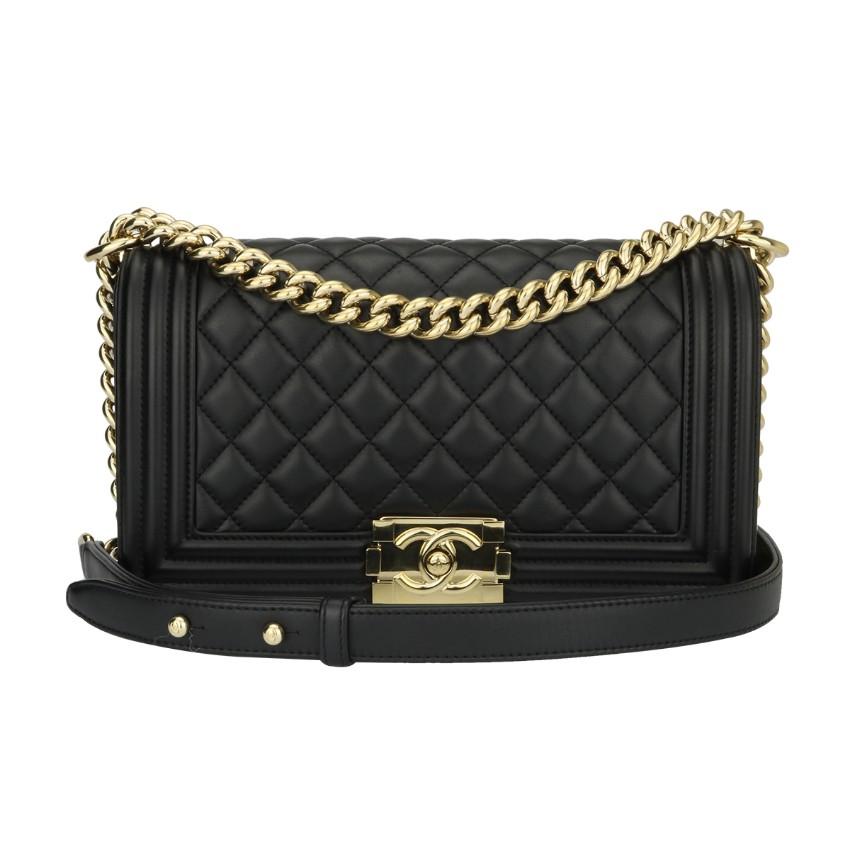 cdbefb8e01 Chanel Old Medium Black Lambskin Boy Bag