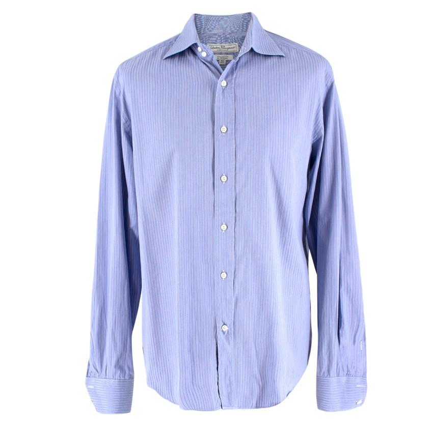 Salvatore Ferragamo Blue Pinstripe Shirt