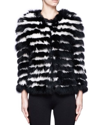 Alice + Olivia fur monochrome jacket