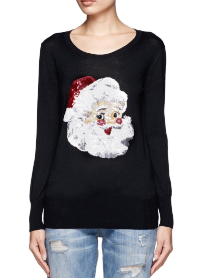 Markus Lupfer Sequin Santa Claus Merino Wool Sweater
