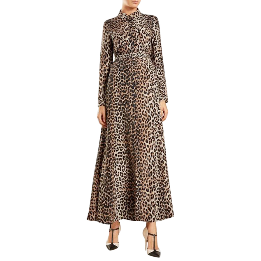 056b43e2 Ganni Fayette 450 Leopard Print Button Front Silk Maxi Dress New ...
