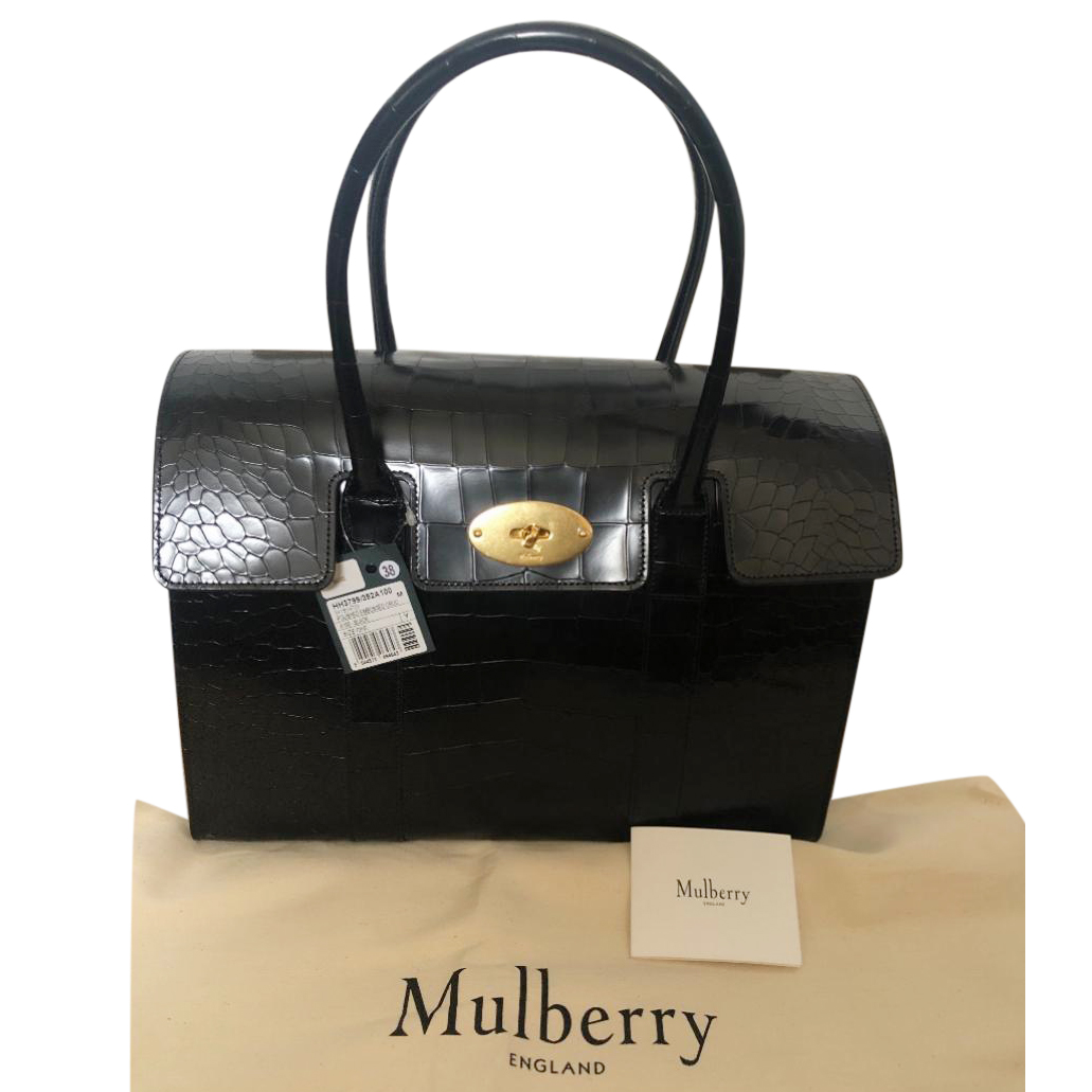 06034cb957 Mulberry Polished Embossed Croc Black New Bayswater