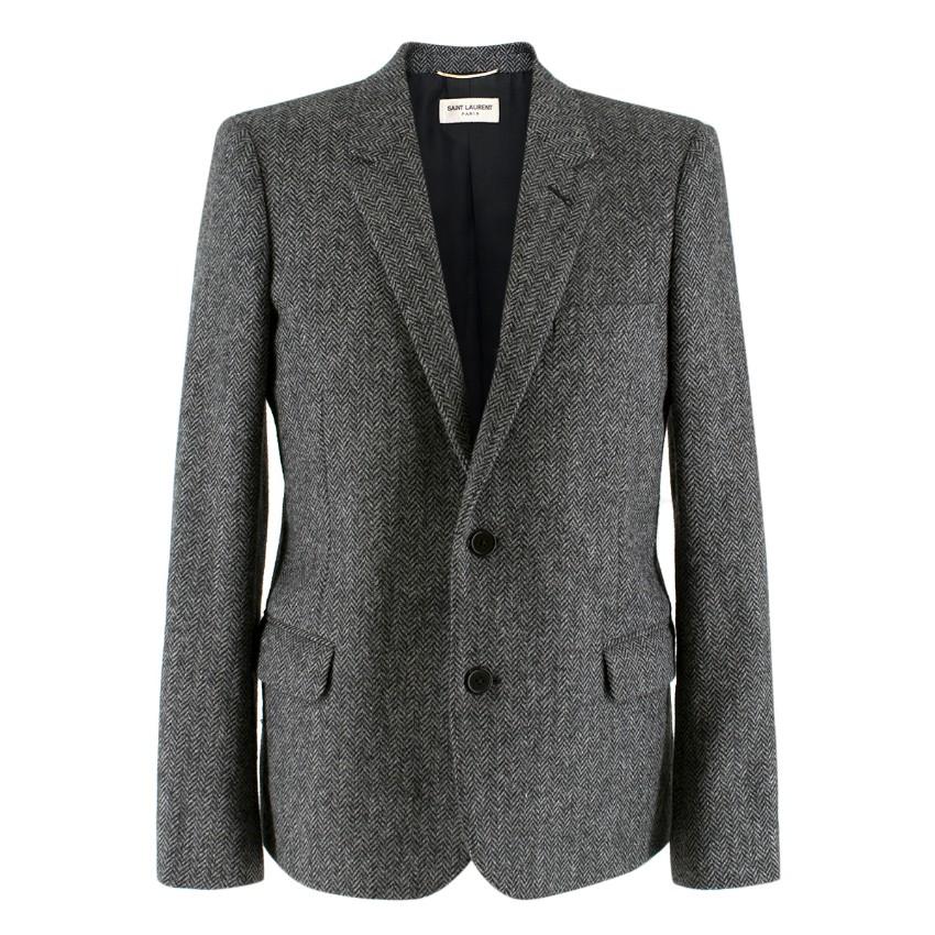 Saint Laurent Grey Wool Tweed & Leather Blazer