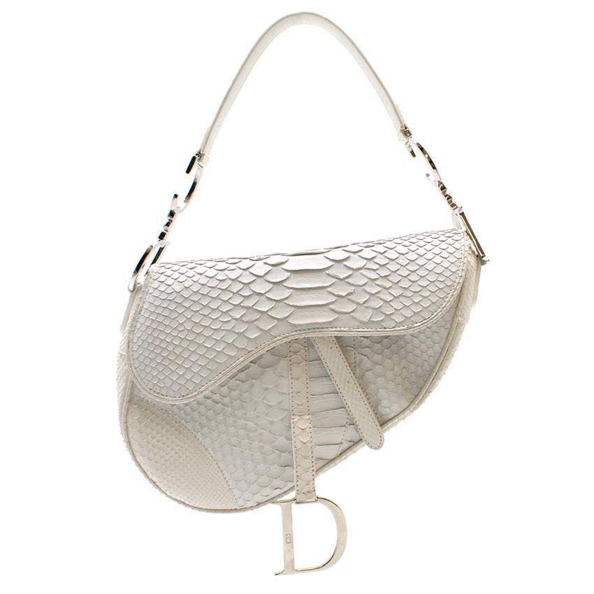Dior Limited Edition White Python Saddle Bag