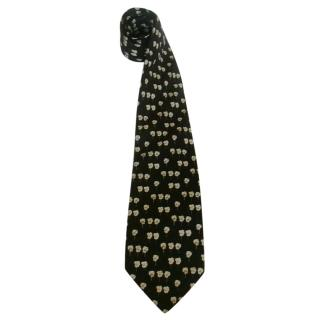 Yves Saint Laurent Ivory Pansy Floral Black Silk Neck Tie
