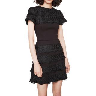 Maje neoprene dress with guipure braid