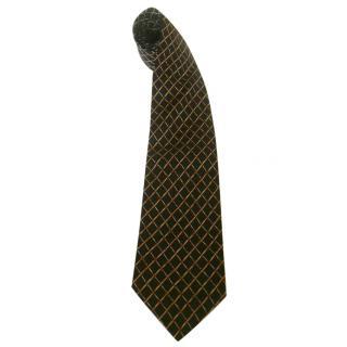 Yves Saint Laurent Black Bamboo Diamond Motif Silk Neck Tie