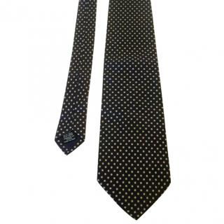 Yves Saint Laurent Navy Blue Ivory Polka Dot Silk Neck Tie