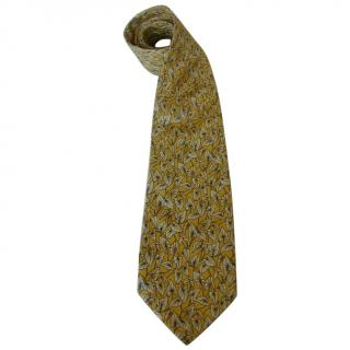 Yves Saint Laurent Lily Pads Motif  Yellow Silk Neck Tie