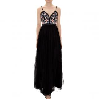 Needle & Thread open-back black tulle gown with embroidered bodice