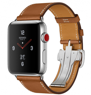 Hermes Series 3 Apple Watch W/ Barenia Leather Strap - 38mm Full Set