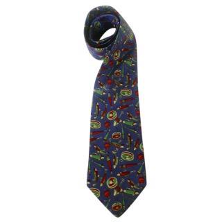 Alain Figaret Fishing Motif Blue Silk Neck Tie