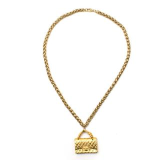 Chanel Gold Flap Bag Necklace