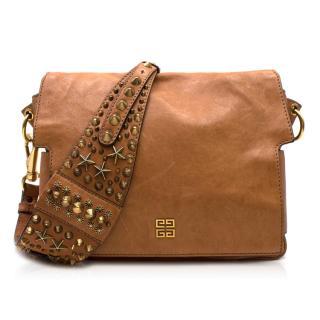Givenchy Tan Brown Leather Studded Strap Shoulder Bag
