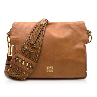 Givenchy Tan Brown Leather Studded Strap Shoulder Bag