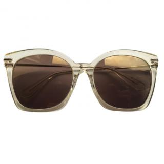 Alexander McQueen transparent mirrored gold sunglasses