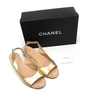 Chanel Gold Foil Leather Perspex Heel Slingback Sandals