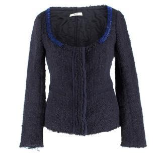 Prada Navy Wool-blend Beaded Lightweight Jacket