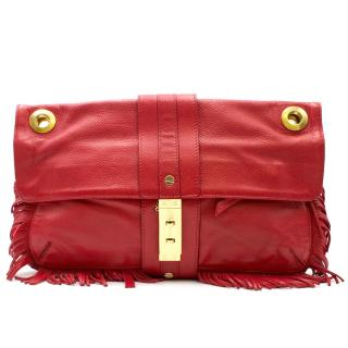Lanvin Red Leather Fringed Shoulder Bag