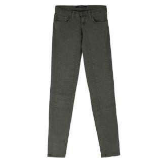 J Brand Khaki Green Roz Moto Skinny Jeans