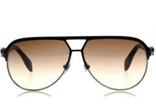 Alexander McQueen Black skull detailed Aviator Sunglasses