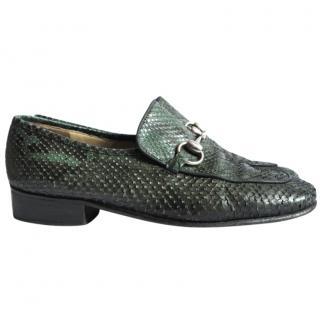 Gucci Vintage Green/Black Python Horse Bit Loafers