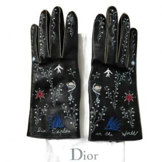 Dior 17 collection embroidered leather gloves