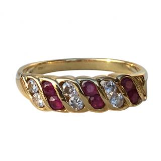 18ct Gold Diamond & Ruby Half Eternity Style Ring