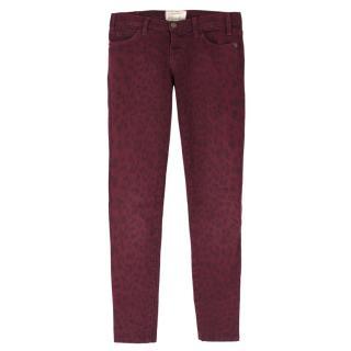 Current Elliott Burgundy Leopard Print Skinny Jeans