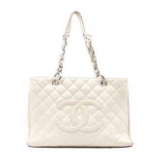 Chanel Off-white Caviar Grand Shopping Tote