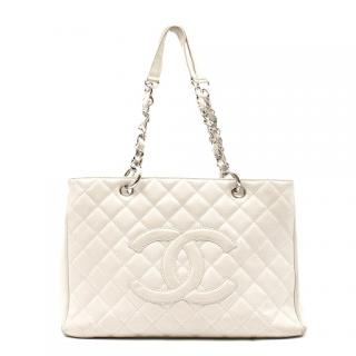 Chanel Off-white Caviar Grand Shopping Tote