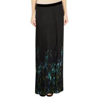 Gucci Iris-print Pleated Silk-Chiffon Maxi Skirt