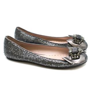 MiuMiu Silver Glitter Pumps