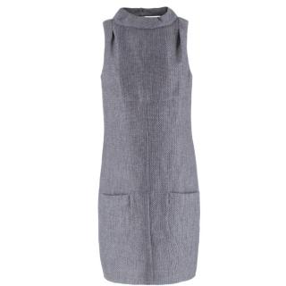 Chanel Grey Wool-blend Cut-out Back Shift Dress