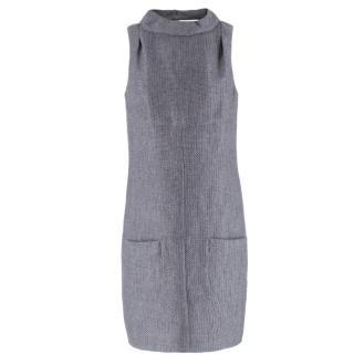 Chanel Grey Wool-blend Cut-out Back Shift Dress