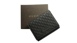 Gucci Black Leather Embossed Micro GG Guccissima Ladies Coin Purse Credit Card Wallet
