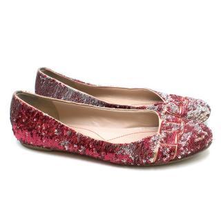 Salvatore Ferragamo Red & Silver Sequin Ballet Flats