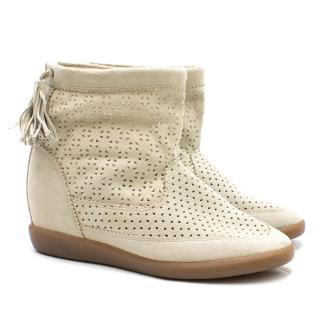 Isabel Marant Basley Perforated Suede Wedge Ankle Boots
