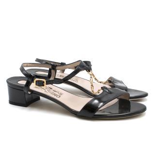 Salvatore Ferragamo Black Patent Leather Heeled Sandals