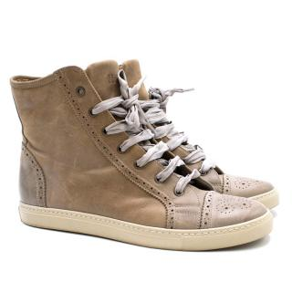 Brunello Cucinelli Taupe Leather Trainers
