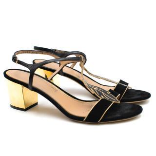 Salvatore Ferragamo Black Suede Gold-Heeled Feather Sandals