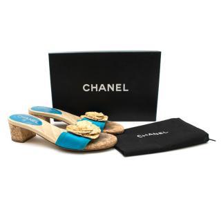 Chanel Blue Straw Camellia Flower Cork Heeled Mule Sandals
