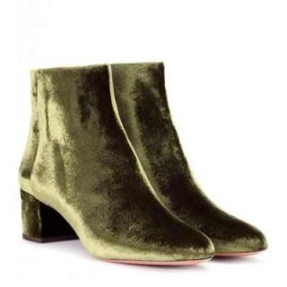 Aquazzura moss green velvet Brooklyn ankle boots