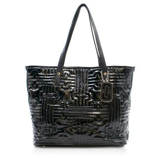 Bvlgari Black Quilted Patent Leather Tote Bag