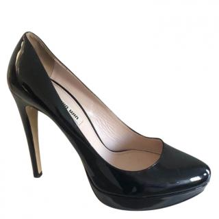 Miu Miu Black Patent Leather Classic Court Shoes
